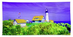 Portland Head Lighthouse Beach Towel by Ann Johndro-Collins