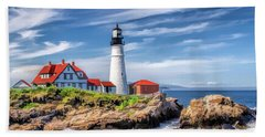 Beach Towel featuring the painting Portland Head Lighthouse by Christopher Arndt