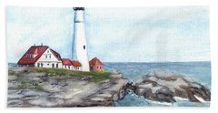 Portland Head Lighthouse Maine Usa Beach Sheet