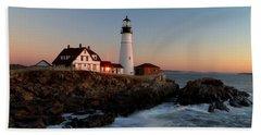 Portland Head Lighthouse Sunrise Beach Towel
