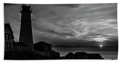 Portland Head Noir Beach Towel