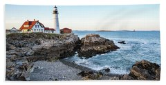 Portland Headlight And Ram Island Light Beach Sheet