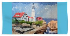 Portland Headlight By The Sea Beach Sheet
