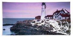 Maine Portland Headlight Lighthouse In Winter Snow Beach Towel