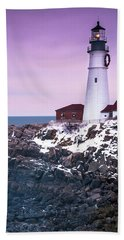 Maine Portland Headlight Lighthouse In Winter Snow Beach Towel