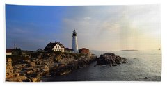 Portland Headlight Morning Glow Beach Towel