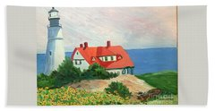 Portland Headlight With Brown Eyed Susans Beach Sheet