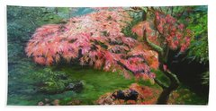 Beach Sheet featuring the painting Portland Japanese Maple by LaVonne Hand