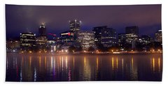 Portland Night Skyline Beach Sheet by Joseph Skompski