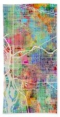 Beach Sheet featuring the digital art Portland Oregon City Map by Michael Tompsett