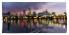 Beach Towel featuring the photograph Portland Oregon City Skyline Out Of Focus Bokeh Lights by Jit Lim