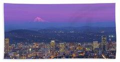 Portland Oregon Cityscape At Dusk Beach Towel