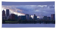Portland Oregon Panorama Beach Sheet by Jonathan Davison