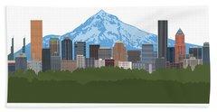 Portland Oregon Skyline Color Illustration Beach Towel