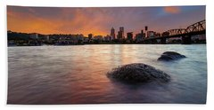 Portland Skyline Along Willamette River At Sunset Beach Towel