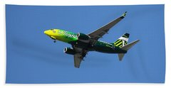 Aaron Berg Photography Beach Towel featuring the photograph Portland Timbers - Alaska Airlines N607as by Aaron Berg