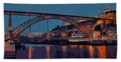 Porto River Douro And Bridge In The Evening Light Beach Sheet