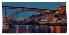 Porto River Douro And Bridge In The Evening Light Beach Sheet