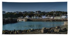 Portpatrick Harbour And Lighthouse Beach Towel