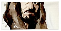 Watercolor Portrait Of A Man With Long Hair Beach Towel