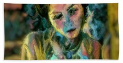 Portrait Colorful Female Wistfully Thoughtful Pastel Beach Towel