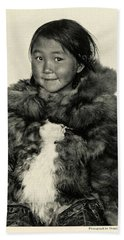 Beach Towel featuring the painting Portrait Girl Child Smith Sound Eskimo Tribe North Greenlan by Artistic Panda