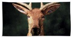 Beach Towel featuring the digital art Portrait Of A Buck by Daniel Eskridge