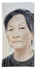 Portrait Of A Chinese Woman With A Mole On Her Chin Beach Towel by Jim Fitzpatrick
