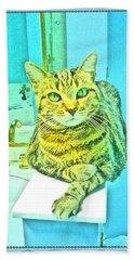 Portrait Of A Feline Beach Towel