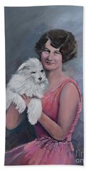 Maggie And Caruso -portrait Of A Flapper Girl Beach Sheet