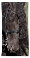 Beach Towel featuring the photograph Portrait Of A Friesian D6438 by Wes and Dotty Weber
