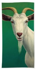 Portrait Of A Goat Beach Towel by James W Johnson