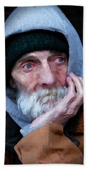 Portrait Of A Homeless Man Beach Towel