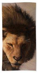 Beach Sheet featuring the digital art Portrait Of A Lion by Daniel Eskridge