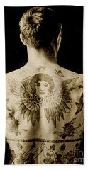 Portrait Of A Man With An Elaborate Back Piece Tattoo Beach Towel