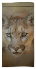Portrait Of A Mountain Lion Beach Sheet