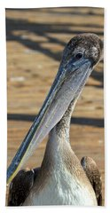 Portrait Of A Pelican On The Pier Beach Towel