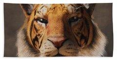 Beach Towel featuring the digital art Portrait Of A Tiger by Daniel Eskridge