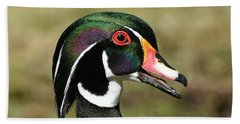 Portrait Of A Wood Duck Beach Towel