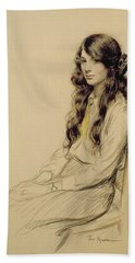 Portrait Of A Young Girl Beach Towel