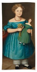 Portrait Of Amy Philpot In A Blue Dress With Doll And Goldfish Beach Towel by Joseph Whiting Stock