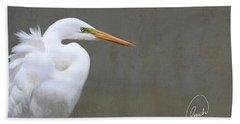 Portrait Of An Egret Beach Towel