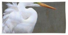 Portrait Of An Egret Signed Beach Towel