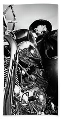 Portrait Of Biker Man Sitting On Motorcycle - Black And White Beach Towel