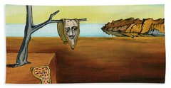 Portrait Of Dali The Persistence Of Memory Beach Towel
