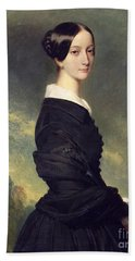 Portrait Of Francisca Caroline De Braganca Beach Towel by Franz Xaver Winterhalter