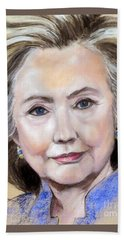 Pastel Portrait Of Hillary Clinton Beach Towel by Greta Corens
