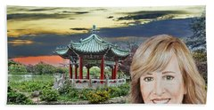 Portrait Of Jamie Colby By The Pagoda In Golden Gate Park Beach Towel