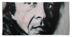 Portrait Of Leonard Cohen Beach Towel