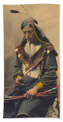 Portrait Of Oglala Sioux Council Chief Bone Necklace Beach Towel